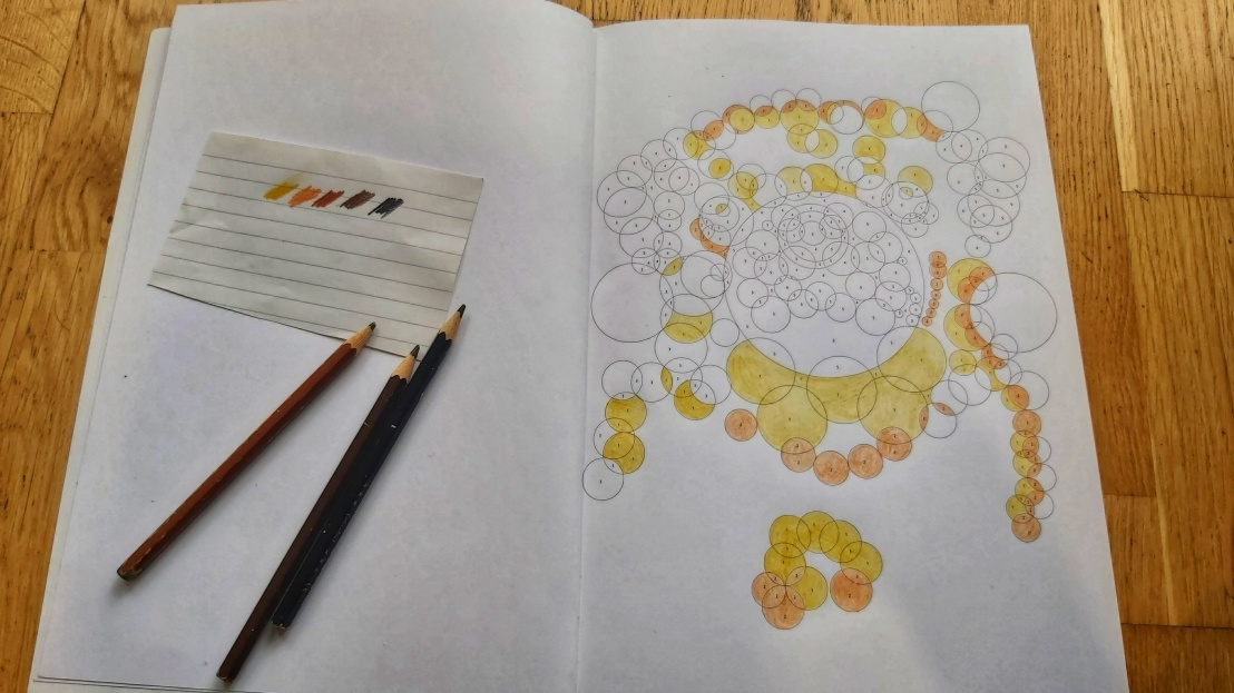 Colouring page in progress - yellow pug