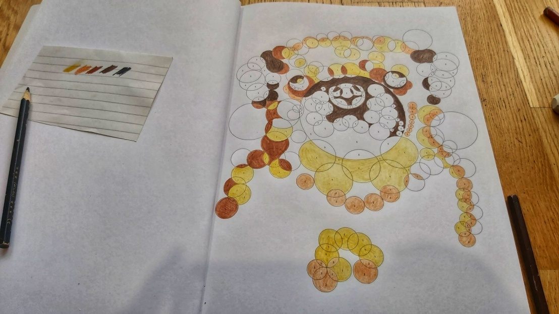 A nearly finished circle numbers colouring page - pug