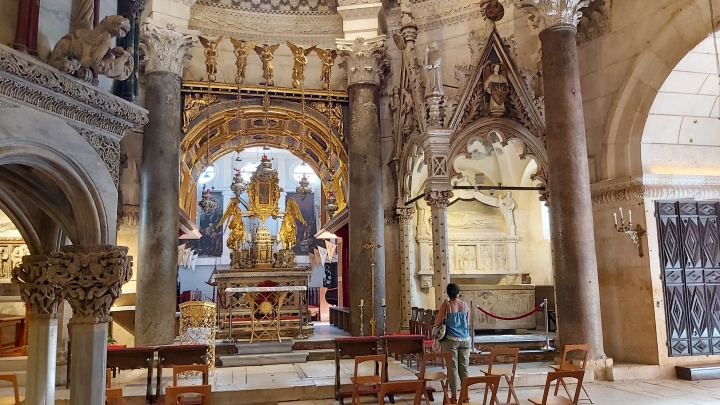 Inside the cathedral of Diocletian's Palace in Split, Croatia