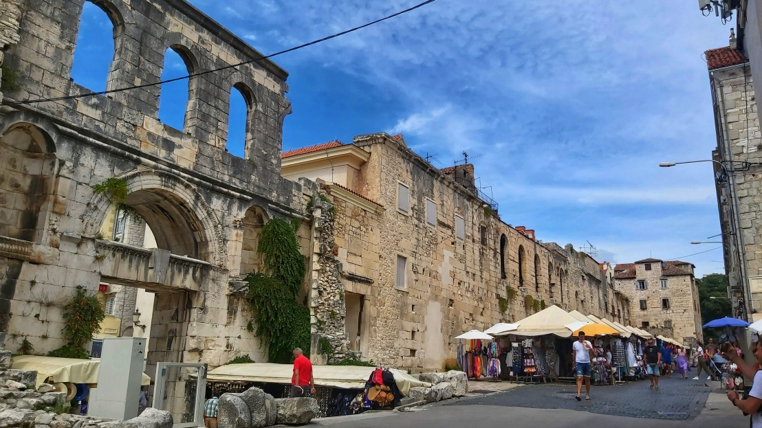 The walls of Diocletian's Palace in Split, Croatia