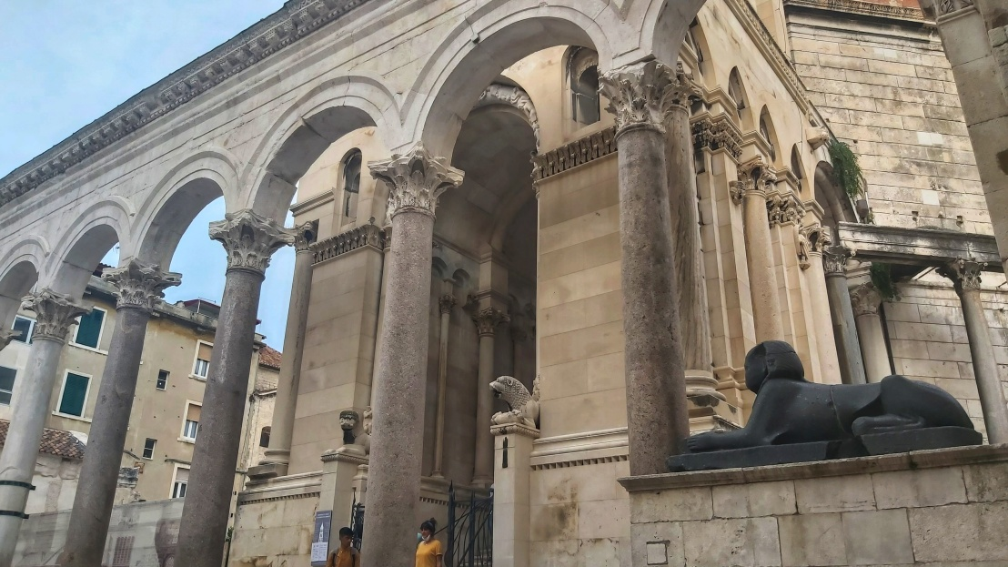 The Sphinx and columns of Diocletian's Palace in Split, Croatia