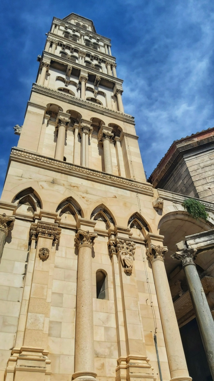 The tower of Diocletian's Palace in Split, Croatia
