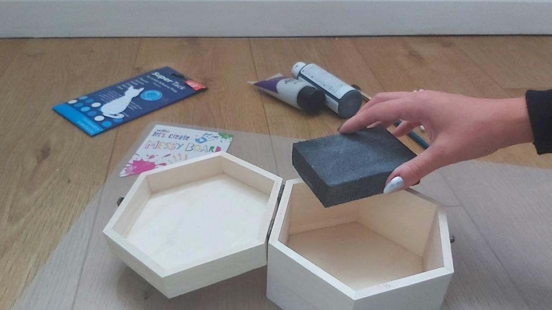 DIY Painted Wooden Box - Cat - sanding down