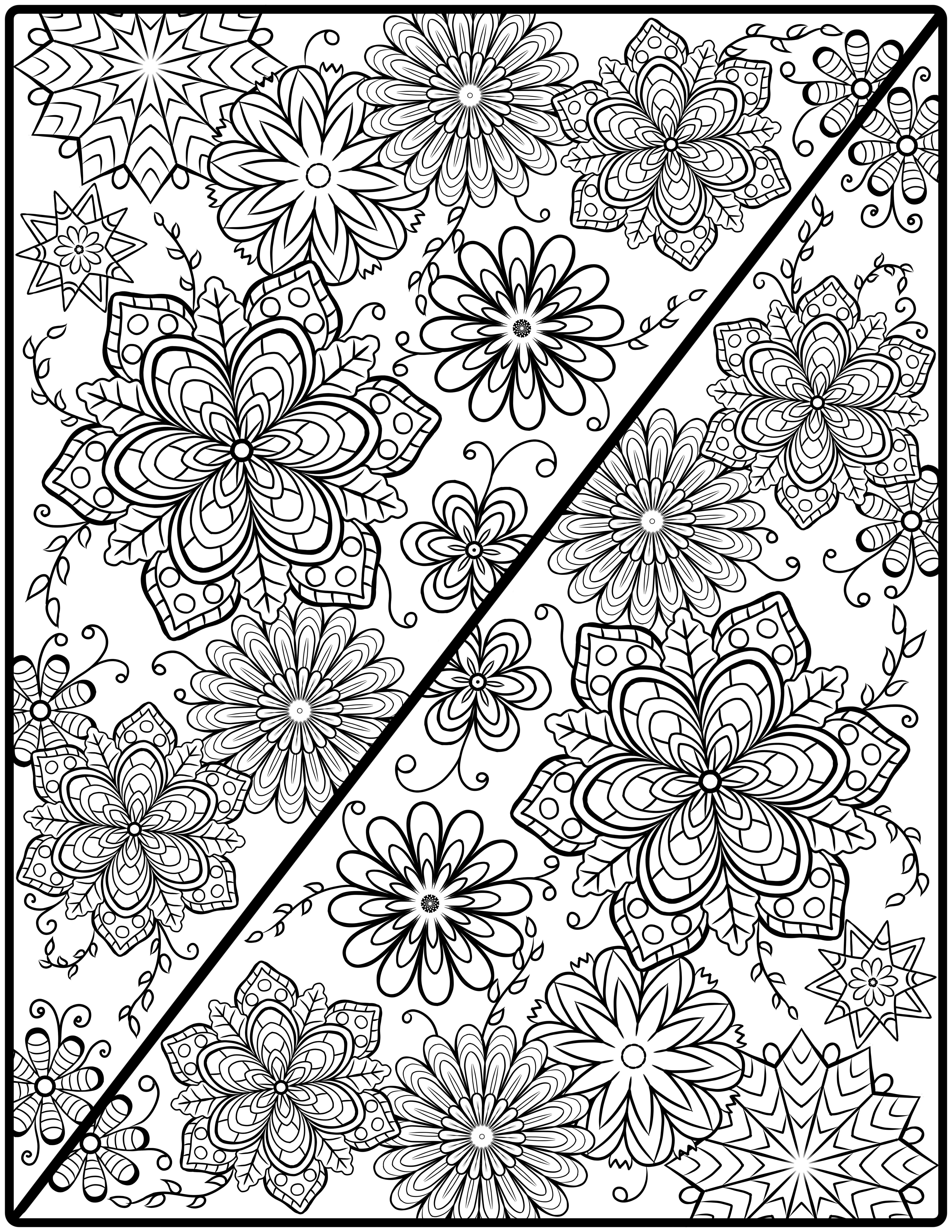 Mandala Colouring Page Diagonal Symmetry
