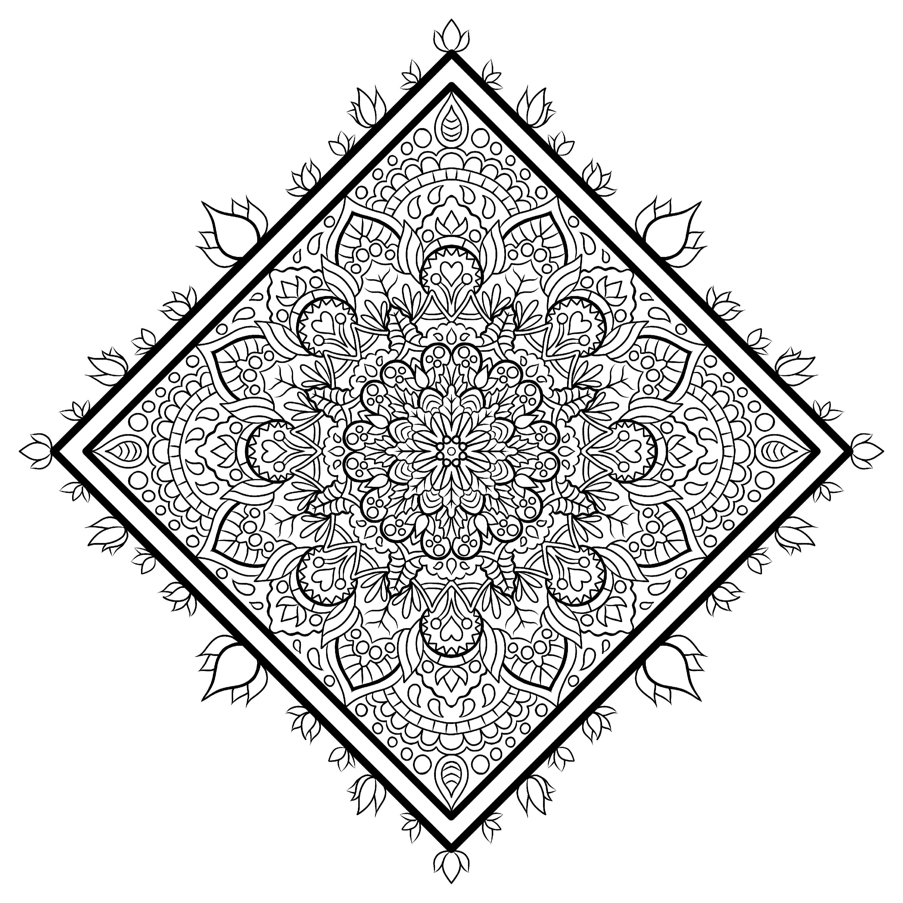 Square Mandala Colouring Page