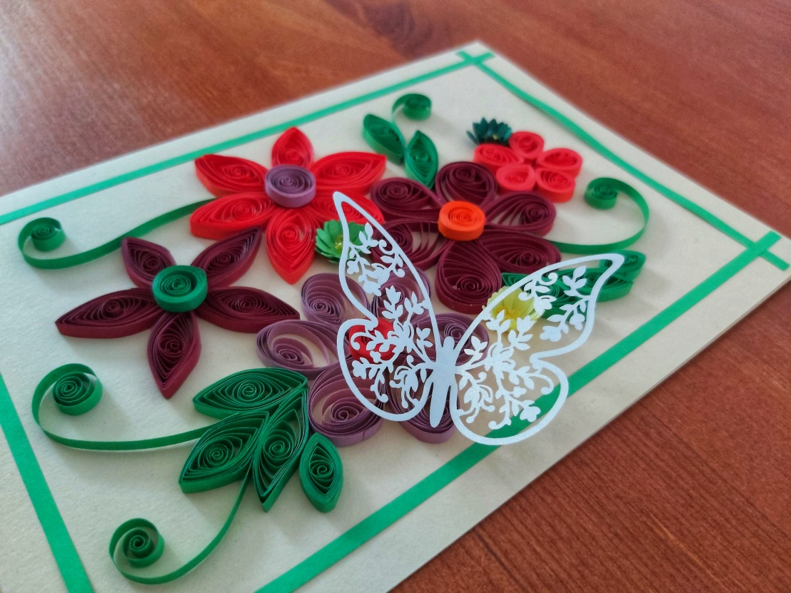 Handmade Quilling Card - Flowers With Butterfly